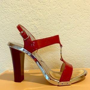 Michael Kors Fulton Sandal Red Patent Leather